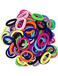 Catalyst 48 pcs Effortless Multi Bright Coloured Neon Elastic Cotton Stretch Hair Tie Bands, Hair accessories Ponytail Holder No Snagging Or Stretching Rubber Bands, Multicoloured Girl Elastic Hairband Ties Rope Band Ponytail Holder for women / girls