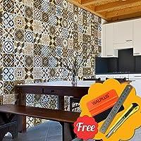 Walplus Entfernbarer Selbstklebend Wandkunst Aufkleber Vinyl Wohndeko DIY  Wohnzimmer Schlafzimmer Küche Dekor Tapete Azulejo Braun Gemischt