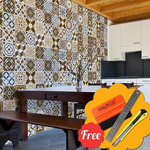 Walplus Removable Self-Adhesive Mural Art Decals Vinyl Home Decoration DIY Living Bedroom Kitchen Décor Wallpaper Azulejo Brown Mix Mosaic Wall Tile Decals 48pcs 15cm x 15cm