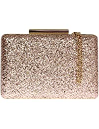 Girly HandBags Small Luxury Womens Sparkly Hard Case Glitter Clasp Clutch Bag