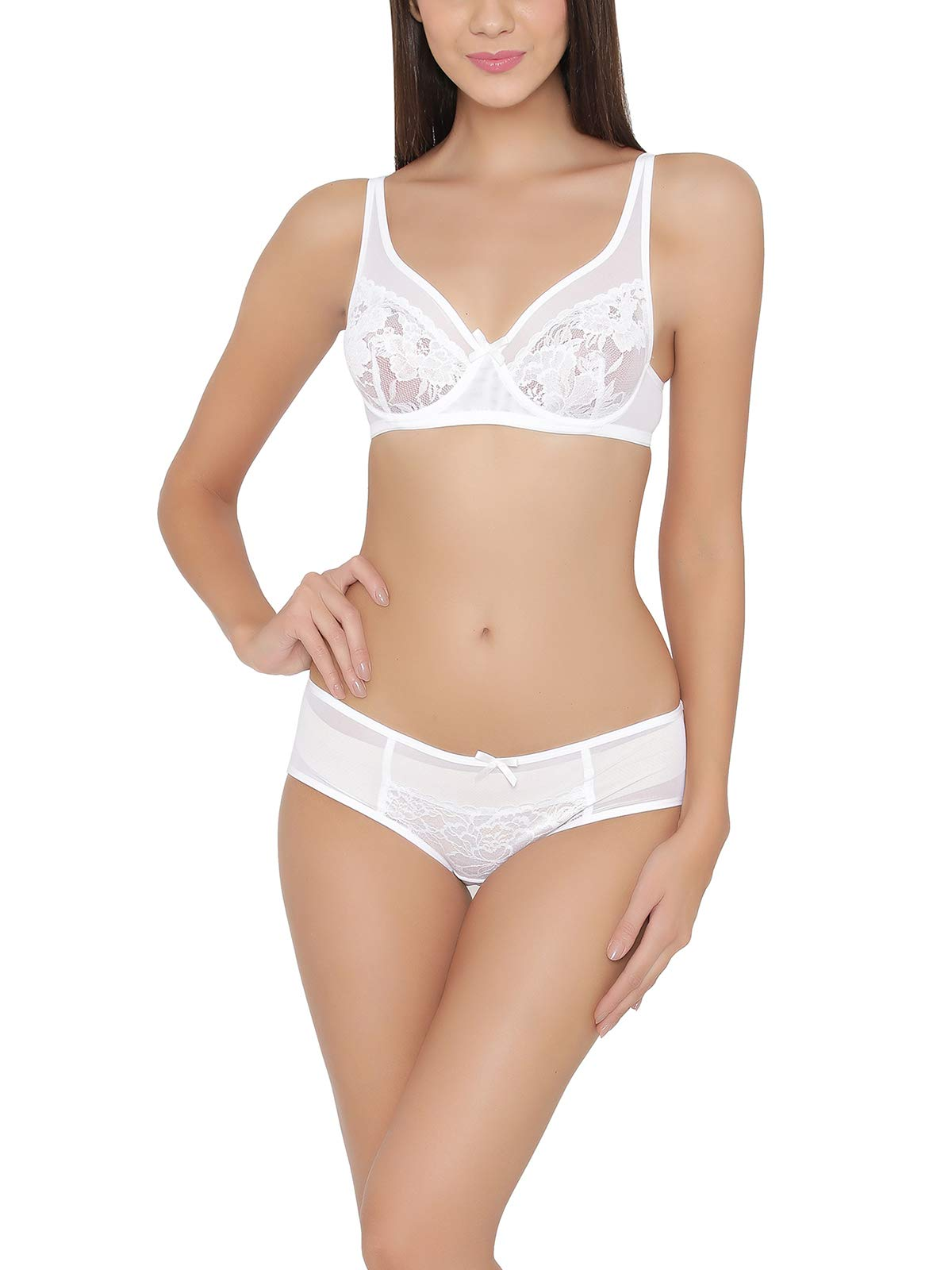 Clovia Women s Lace Non-Padded Underwired Bra   Hipster Panty ... f380c5d91