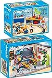 PLAYMOBIL City Life 2er Set 9455 9456 Klassenzimmer Geschichtsunterricht + Chemieunterricht