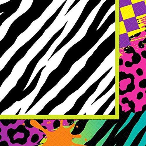 Fancy Me Erwachsene Kostümfest 80er 80er Jahre Achtziger Neon Funky gemusterte Jahrzehnte Party Papier Geschirr Dekorationen Zubehör (Servietten)