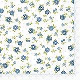 20 Servietten Mille Fleurs – Eintausend blaue Blumen / Blumenmuster 33x33cm