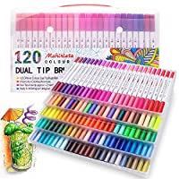 120 Colours Marker Pen Set Dual Tips Art Markers WaterColour Brush Pens for Kids Adults Drawing, Sketching, Highlighting & Underlining