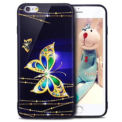 Coque iPhone 6S Plus, Étui iPhone 6 Plus, iPhone 6 Plus/iPhone 6S Plus Case, ikasus® Coque iPhone 6 Plus/iPhone 6S Plus Housse Papillon Panda Hibou Fleur Modèle Couleur peinte Doux TPU Silicone Étui H Papillon d'or