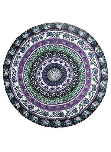 Futurino Hippie Circulaire Tapisserie Imprimé Éléphant Plage Serviette Yoga Mat Bohème Nappe purple