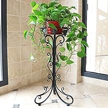 Balcón de balcón de hierro forjado de estilo europeo balcón de salón de varias plantas plegable maceta de flores (trompeta) ( Color : Negro )