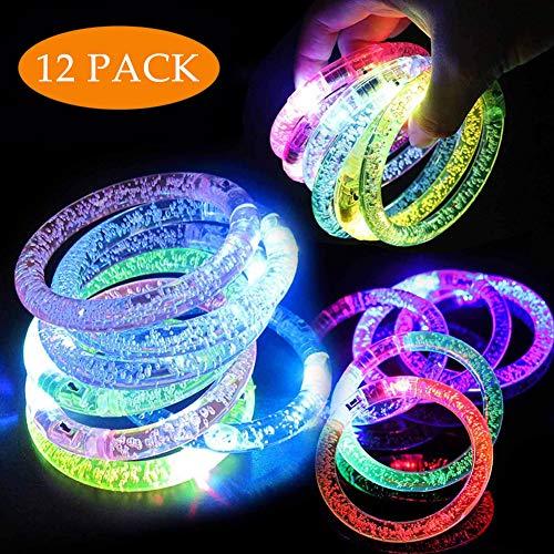 Danolt 12 Stück Flash-Armband bunt leuchten LED Acryl-Armband im Dunkeln leuchten leuchtende Spielzeug für Kinder Geburtstag Musik Karneval Party (Rosa-glühen Dunklen Farbe Der In)