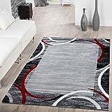 T&T Design Alfombra De Salón Moderna Económica con Ribete Semicírculos Jaspeada Gris Rojo, Größe:160x220 cm