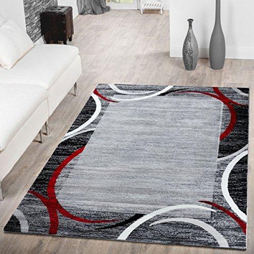 T&T Design Teppich Modern Preiswert Bordüre Halbkreis Meliert Wohnzimmerteppich Grau Rot, Größe:160x220 cm