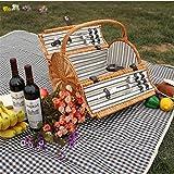 SHOUNALAIN Vintage Rattan Picknickkorb für 2 Personen im Freien Weiden Picknickkorb für Valentinstag Mimbre Cesta De Picknick Ohne Picknick Mat