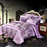 DACHUI Hochwertige Baumwolle Tribut Jacquard Bettwäsche 4-teilig Doppelbett Textil, Lila 1.200 * 230 cm
