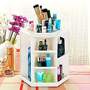 HOME CUBE® 360-Degrees Rotating Circular Plastic Cosmetic Jewelry Makeup Display Storage Box Organizer (Random Color)