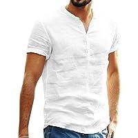 Maglietta T-Shirt da Uomo Estivo Camicia in Cotone Lino a Maniche Corte con Bottoni Casual Hawaii in Tinta Unita