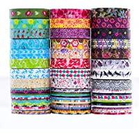 24 rollos de Washi Tape Set - 24 Rollos de 8 mm de ancho, cinta adhesiva decorativa para DIY Craft Scrapbooking envoltura de regalo