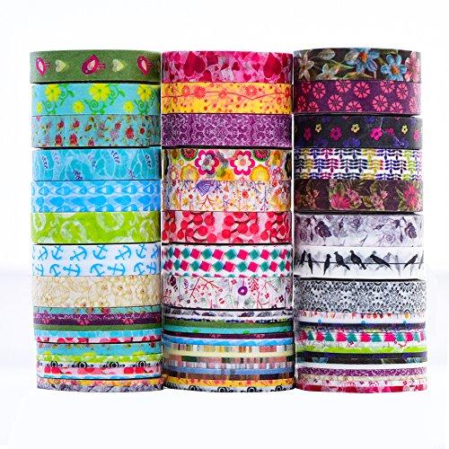24 Rolls Washi Tape Set - 24 Rolls 8mm Wide ,Decorative Masking Tape for DIY Craft Scrapbooking Gift Wrap
