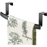 mDesign Modern Metal Kitchen Storage Over Cabinet Curved Towel Bar Rack - Hang on Inside or Outside of Doors, Organize…