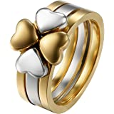 Flongo 3 Anillos de Mujer Plateado Dorado, 3 en 1 Anillo de Compromiso Acero Inoxidable, Anillo de Corazón y Trébol para Buen