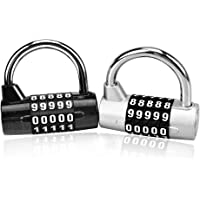 Combination Lock Astarye 2 Stücke 4/5 Digit Vorhängeschloss Rostfreiem Stahl Anti-Rost Zahlenschloss für Schule, Koffer…