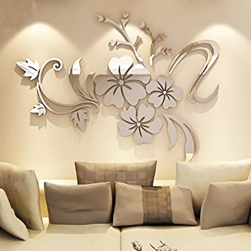 Alicemall 3D Mirror Flower Wall Sticker Art Removable Acrylic Mural Decal  Wall Sofa Home Room Decor Silver Color (silver): Amazon.co.uk: DIY U0026 Tools Part 94