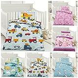 Kinder Bettwäsche, Babybettwäsche 100x135 cm + 40x60 cm 100% Microfaser für Jungen und Mädchen in verschiedenen Designs, Baustelle
