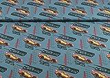 Excellenter Jersey Stoff little Darling gemustert mit Cars auf blaugrau als Meterware | Maße: 25 cm x ca. 145 cm | 1A ÖKO-TEX Qualität Standard |
