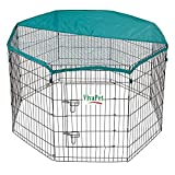 "90CM HIGH, 55"" X 55"" Octogan, 8 panels, VivaPet Galvanized Weatherproof RABBIT PUPPY RUN PEN CAGE, DUCK GUINEA DOG PLAYPEN, PLAY PEN, ENCLOSURE, Chicken RUN, WITH SAFETY COVER NET"