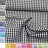 MAGAM-Stoffe Baumwoll-Stoff ''Amelie'' Karos aus 100% Baumwolle - Vichy-Muster in Bester Öko-Tex Qualität - Meterware ab 50cm - FX (16. Schwarz)