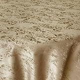 DecoHomeTextil Jacquard Tischdecke Granit Tischdecke Rund Beige Sand 140 cm Meliert mit Lotus Effekt Größe & Farbe Wählbar