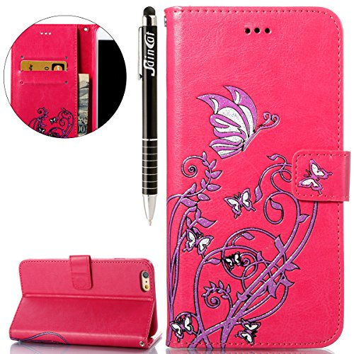 Custodia iPhone 6, iPhone 6S Flip Case Leather, SainCat Custodia in Pelle Cover per iPhone 6/6S, Bling Glitter Anti-Scratch Book Style Protettiva Caso PU Leather Flip Portafoglio Custodia Libro Protet Red Rose
