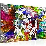 Bilder Löwe Graffiti Wandbild 120 x 80 cm - 3 Teilig Vlies - Leinwand Bild XXL Format Wandbilder Wohnzimmer Wohnung Deko Kunstdrucke Bunt -100% MADE IN GERMANY - Fertig zum Aufhängen 303531a