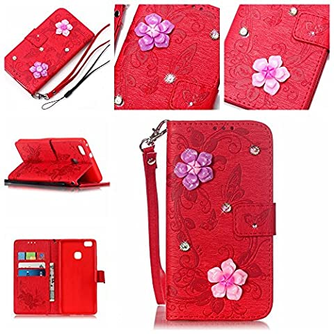 For Huawei P9 Lite Case [Red],Cozy Hut [Wallet Case] Magnetic Flip Book Style Cover Case ,High Quality Classic New design Butterfly Flower Pattern Design [With Diamond] Premium PU Leather Folding Wallet Case With [Lanyard Strap] and [Credit Card Slots] Stand Function Folio Protective Holder Perfect Fit For Huawei P9 Lite -