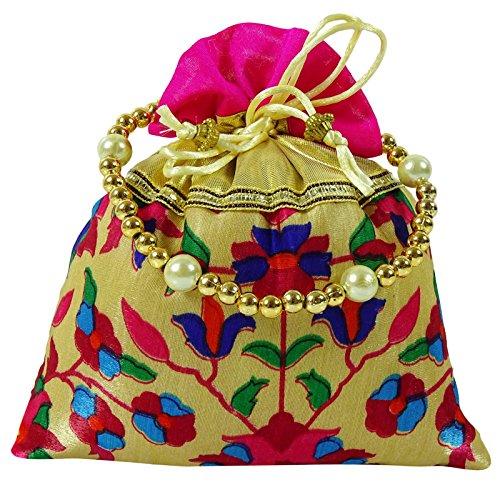 Traditionelle Blumenmuster Indische Brautfrauen Potli Handtasche Clutch Farbe wählen Rosa