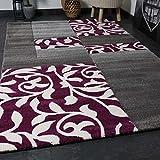 Moderner Wohnzimmer Teppich Design mit Blumenmuster Kariert Konturenschnitt in Grau Lila Teppich Home 160x230 cm