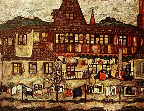 A4 Photo Schiele Egon 1890 1918 Houses with Drying Laundry 1917 Poster