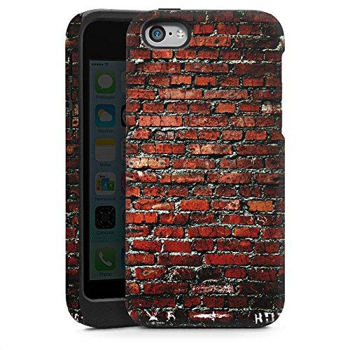 Apple iPhone 5s Housse Étui Protection Coque Brique Paroi en pierres Pierres rouges Cas Tough brillant