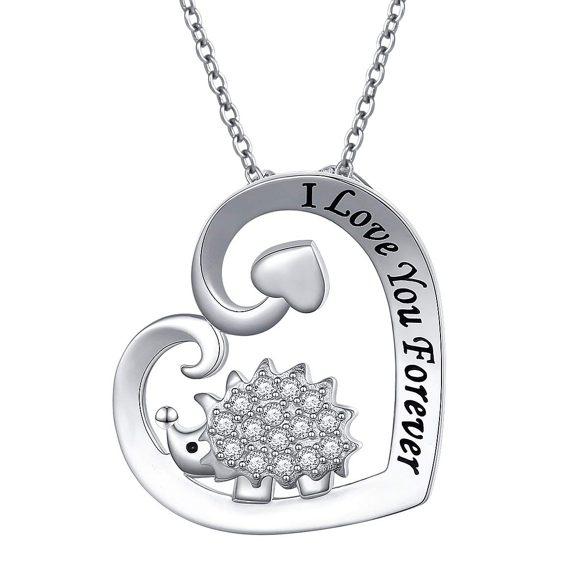 925 Sterling Silver Cute Animal I Love You Forever CZ Hedgehog Pendant Necklace Gift for Women Girls,18 inch