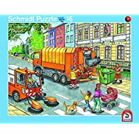 2er-Set-Rahmenpuzzle-Mllauto-und-Baustelle-1624-Teile 2er-Set Rahmenpuzzle Müllauto und Baustelle 16+24 Teile -