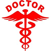Onlinemart Red Doctor Car Decal Sticker, 14.5 X 15.5 cm - Pack of 2
