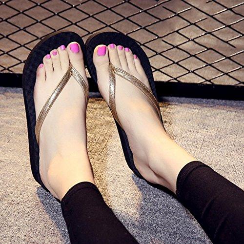 Les gens glissent les pantoufles dété Chaussons de mode Chaussons antidérapants à nœuds darc Pente de fond plat avec des pantoufles de refroidissement dusure (5 couleurs en option) (taille facultat D