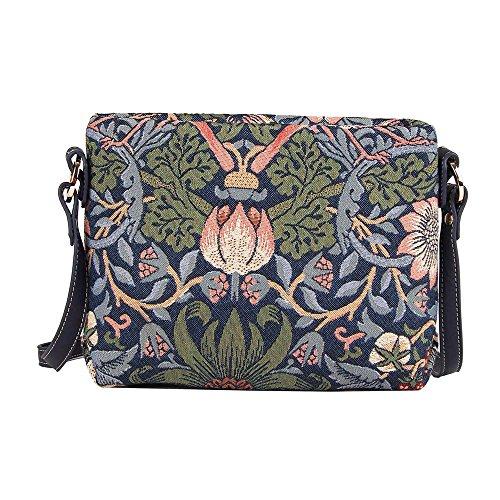 Signare sac de messager sac porté-croisé d'épaule tapisserie mode femme William Morris Fraise voleur bleu