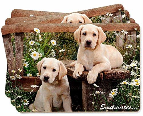 Yellow Labrador Puppy Dogs 'Soulmates' Bild Tischsets in Geschenkbox Weihnachten