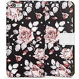 Apple iPhone 6 Tasche Hülle Flip Case Rosen Blumen Muster
