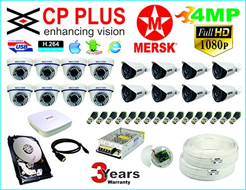 CP Plus 16 Ch HD Dvr and Mersk Full HD (4MP) CCTV Camera Kit with (All Required Accessories) Note : No Installation Service