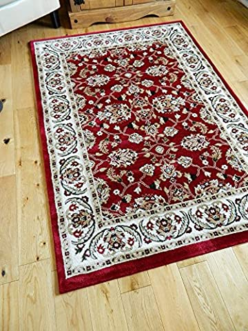 SMALL- XX LARGE RED BORDER TRADITIONAL CLASSIC THICK LUXURY SOFT WOOL-LOOK, PERSIAN LOOK, AREA RUGS HEAVY QUALITY AREA RUG SOFT CARPET NON SHED HALL RUNNER BEDROOM LIVING ROOM ROUND CIRCLE RECTANGLE MAT AREA RUG BEAUTIFUL OUTSTANDING QUALTIY (80 X 150 CMS)