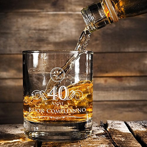 Amavel tumbler da whisky in vetro con incisione 40 anni for Accessori casa originali