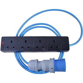 Extension Lead 1.5mm 16A Blue Plug /& 4G Socket 5 Metre Blue Caravan Hook Up