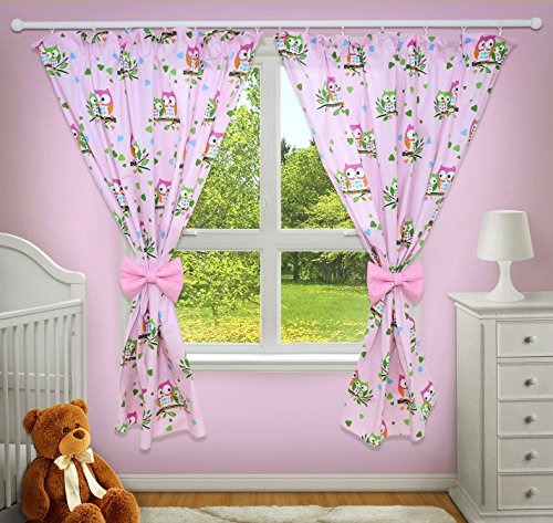 LUXURY DECORATIVE CURTAINS FOR BABY ROOM MATCHING WITH OUR NURSERY BEDDING SETS (Owls pink)
