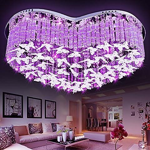 De estilo europeo en forma de corazón color de rosa romántica de la lámpara del techo del LED lámparas de cristal de agua estudio de la lámpara del dormitorio luces de la sala de control remoto redondas 20-30w energía del interruptor 220v que viven , heart-shaped , 58cm